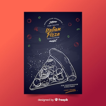 Нарисованный рукой шаблон плаката ломтика пиццы