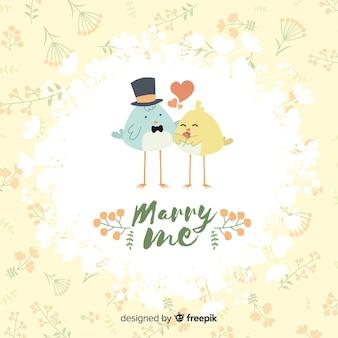 Выходи за меня замуж иллюстрация с милыми птицами