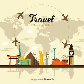 Плоский фон путешествия