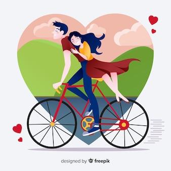 フラットなデザインの愛の図の美しいカップル