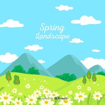 手描きの日当たりの良いフィールド春の背景