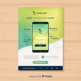 Плоский плакат для мобильного приложения