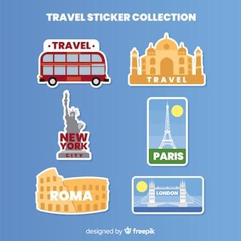 Коллекция плоских дорожных стикеров