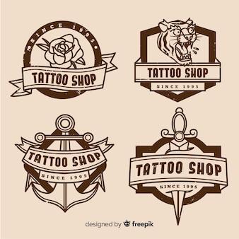 Коллекция значков магазина татуировки