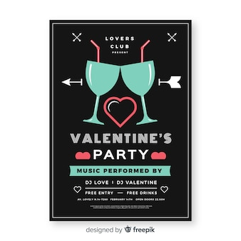 フラットグラスバレンタインパーティーポスター