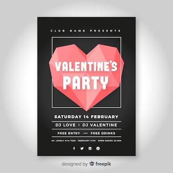 折り紙ハートバレンタインパーティーのポスター