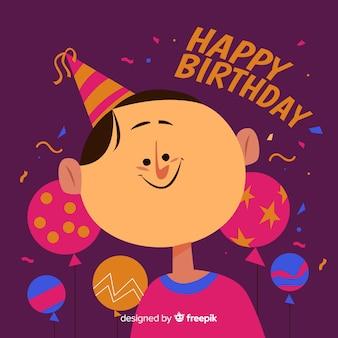 手描きの誕生日子供の背景