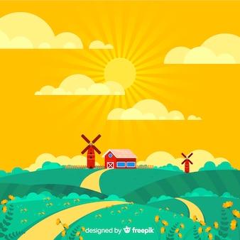 春の農場の風景の背景