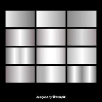 メタリックの質感のシルバーグラデーションセット