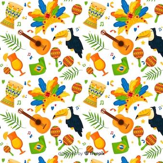 カラフルなブラジルのカーニバルパターン
