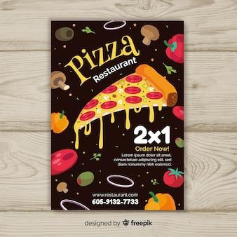 ピザ食材のパンフレットの型板