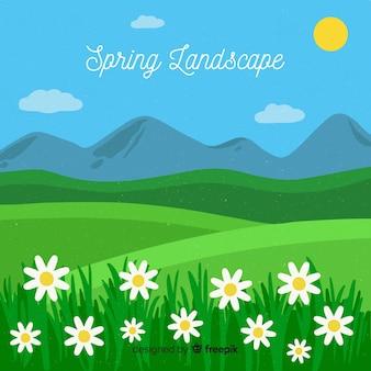 平らな春の風景の背景