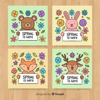 Коллекция рисованной животных весной карты