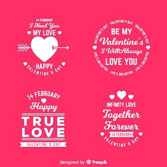バレンタインデーのラベルと見積もりのコレクション