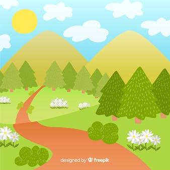手描きの森の春の背景