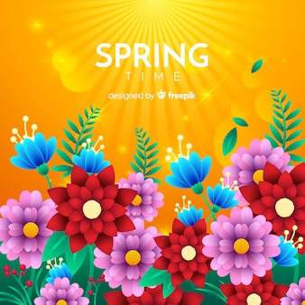 平らな花春の背景