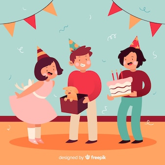 平らな誕生日の子供たちの背景