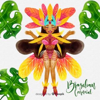 Акварель танцор бразильский карнавал фон
