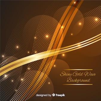 光沢のある金色の波背景