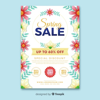 側の春のセールポスターの花