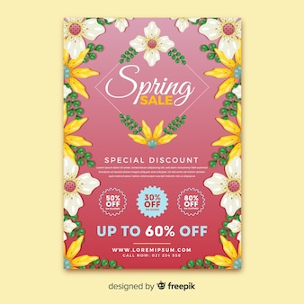 Цветочная рамка весенняя распродажа постер