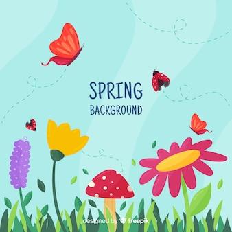 春の背景を飛んでいる昆虫