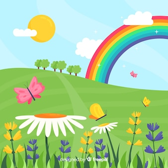 Радуга поле весной фон