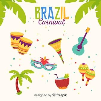 フラットブラジルカーニバル要素セット
