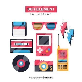 Плоская коллекция элементов восьмидесятых