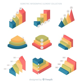 Изометрические инфографики элемент коллекции