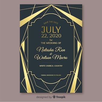 幾何学的な結婚式の招待状のテンプレート