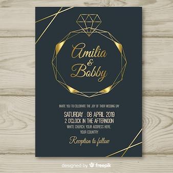 ダイヤモンドの幾何学的な結婚式の招待状のテンプレート