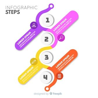 平らなインフォグラフィックステップ