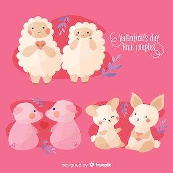 День святого валентина коллекция животных пара