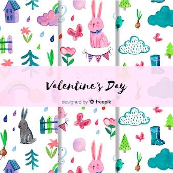 バレンタインの水彩パターンセット
