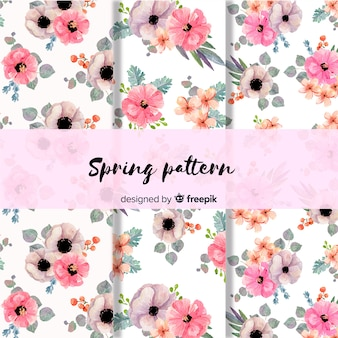 水彩花柄春パターン