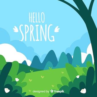 手を飲んだ風景春の背景