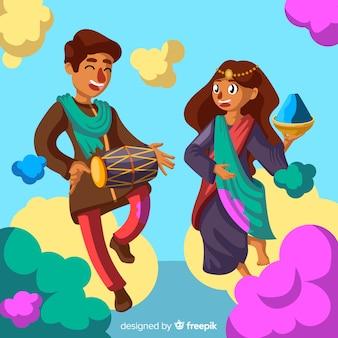 手描きカップルホーリー祭の背景