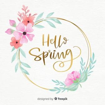 水彩花輪春の背景