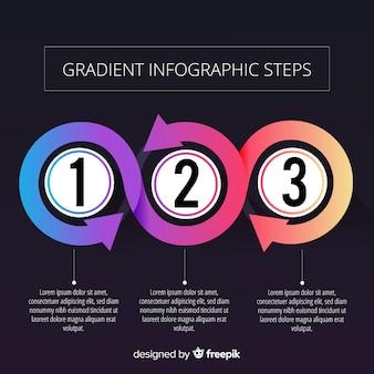 グラデーション矢印インフォグラフィックの背景