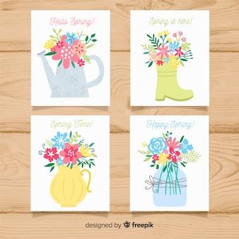 手描きの園芸要素春カードコレクション