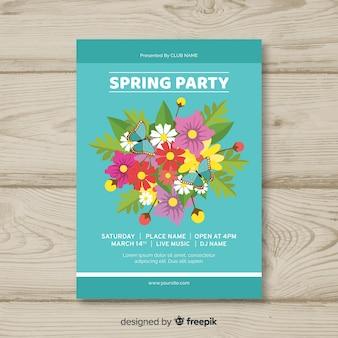 色とりどりの花の春のパーティーのポスター