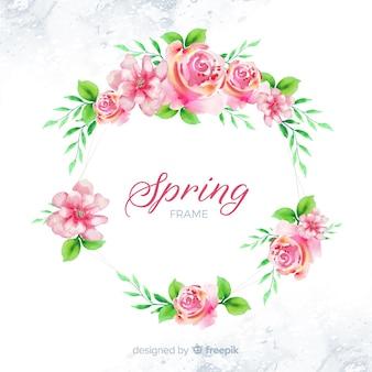 水彩春花フレーム
