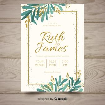 平らな結婚式の招待状のテンプレート