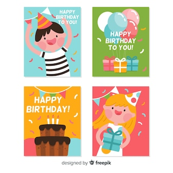 Плоская коллекция поздравительных открыток