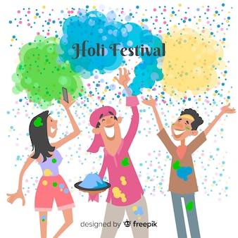 ホーリー祭の背景を祝う人