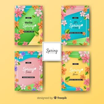 カラフルな春カードコレクション