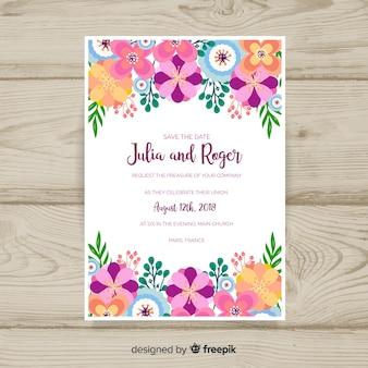 花のウェディングカードのテンプレート