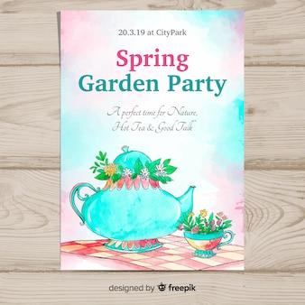 水彩ティーポット春パーティーポスター