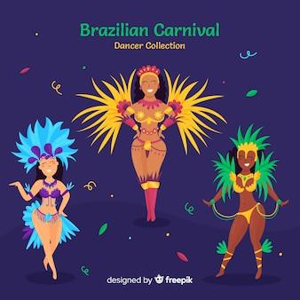 Коллекция рисованной бразильский карнавал танцовщица